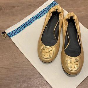 Tory Burch Reva Gold Ballet Flats -Sz 11